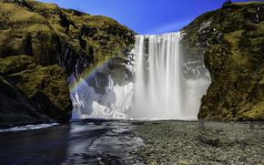 река, радуга, скалы, водопад Скогафосс, Исландия