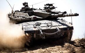 пыль, танк, боевой, основной, Меркава, Израиля