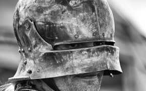 helmet, man, armor, warrior, bw