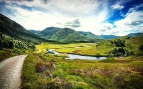 горы, зелень, дорога, трава, Соединённое Королевство, Великобритания, природа, озеро, Шотландия, деревья, пейзаж, облака