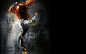 рыжая, волосы, танец