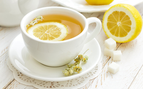 Lemon, saucer, sugar, mug, tea