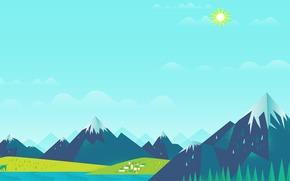 солнце, домики, Горы, небо, олени, озеро, облака, лес