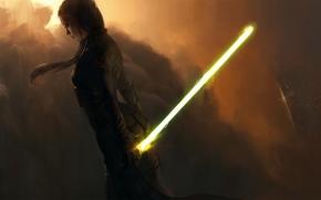 световой меч, Девушка, костюм, облака