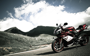 motorcycle, sky, Yamaha, motorcycles, red, Mountains