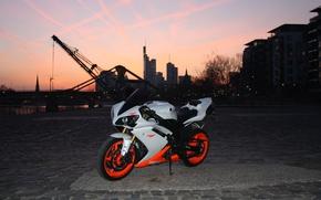 city, motorcycles, Yamaha, twilight, motorcycle, White