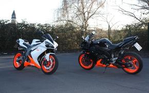 motorcycles, motorcycles, black, white, Yamaha