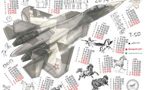 fighter, PAK FA, multi-purpose, calendar