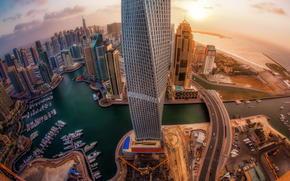 city, height, lights, UAE, DAWN, panoramma, Dubai, Skyscrapers