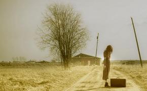 чемодан, дорога, девушка, настроение