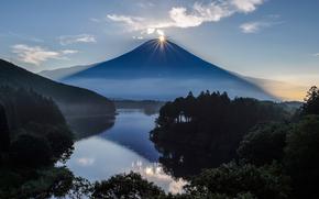 Фуджи, гора, Япония, вулкан, солнце