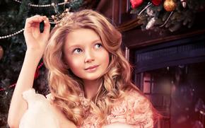 сказка, Рождество, камин, девушка, корона, игрушки, принцесса