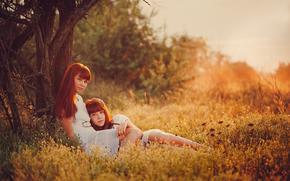 природа, мама, лето, дочь, семья