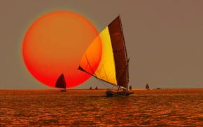 лодки, небо, море, солнце, закат, парус