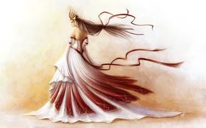 Art, Tape, dress, crown, girl, background, wind