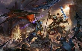 demoness, weapon, Art, sword, warrior, banner, battle, wings, Monsters, battle
