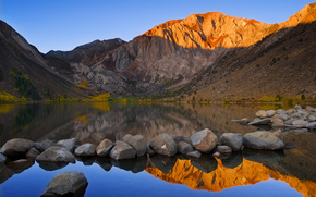 pietre, lago, montagna, riflessione, Ottobre, autunno, cielo