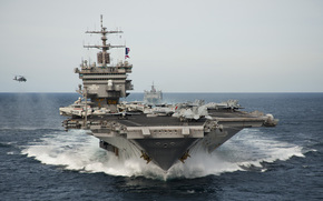 sea, waves, aircraft carrier