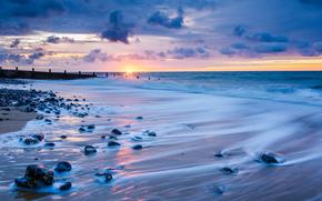 Великобритания, солнце, тучи, море, небо, Норфолк, облака, Англия, горизонт, закат, вечер, берег, прибой, камни