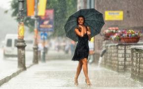 smile, city, focus, shoes, wallpaper, dress, mood, street, Mood, brunette, rain, photo, girl, umbrella