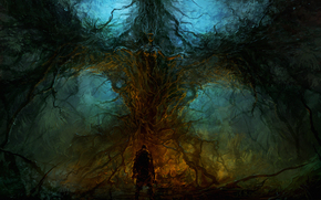 Elemental, tree, man, altar, trees