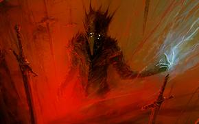 maschera, occhi, sangue, Swords, Elementare