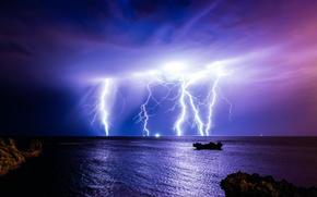 молния, тучи, шторм, Австралия, природа, океан, гроза, ночь