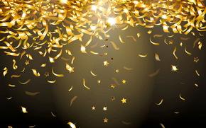 coriandoli, brillare, oro, sfondo, orpello