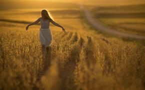 дорога, девочка, боке, солнце, поле