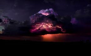 непогода, тучи, молния