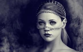 девушка, дым, портрет, цепи
