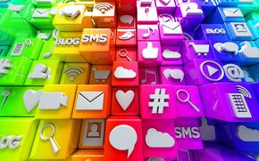 redes sociales, Internet, cubos, Iconos