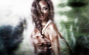Lara Croft, ansehen, Mädchen, regen