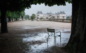 лужа, терраса, Люксембург, стул, деревья, после дождя