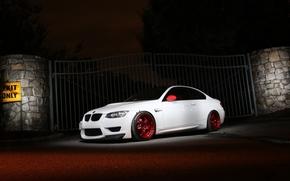 white, BMW, fencing, gate, BMW, twilight