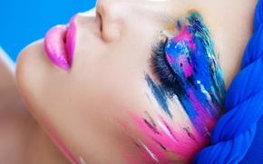 закрытые глаза, макияж, тени, стиль, краски, ресницы, губы