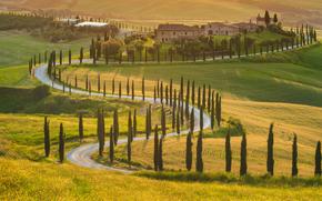krajobraz, drzewa oliwne, Włochy, dom, światło słoneczne, droga, Piękna przyroda, cyprysowa, zielone pola