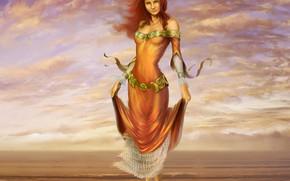 sorridere, cielo, nuvole, acqua, capelli, vestire, mare, Art, ragazza, volto, piedi, Redhead