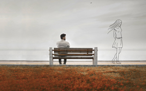 silhouette, guy, memoirs, girl, bench