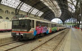 Andere Maschinen und Anlagen, Zug, Eisenbahn, Peron, Graffiti, Bahnhof, Eisenbahn