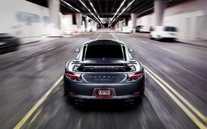 размытие, серый, порше, Porsche, каррера, задок, скорость, дорога