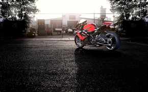 fencing, trees, red, back view, Suzuki, motorcycle, motorcycles, sky