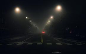 дорога, город, фонари, ночь, автомобили