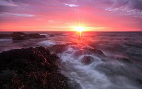 sea, morning, stones, clouds, sun, Rays