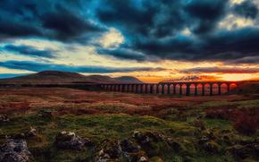 clouds, bridge, railroad, CLOUDS, sky, sunset, valley, locomotive, train