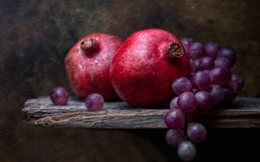 виноград, натюрморт, гранаты