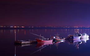 ночь, отражения, Португалия, река, вечер, лодки