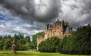 photo, clouds, castle, Scotland, lawn, city