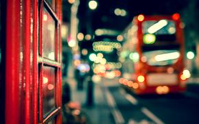 боке, Лондон, Англия, огни, ночь, город, автобус, дорога, макро, Великобритания