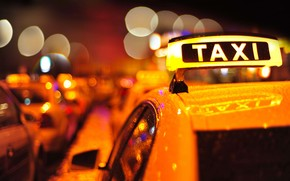 bokeh, machine, blur, lights, evening, city, Multicolored, Car, plate, inscription, taxi, Macro, roof